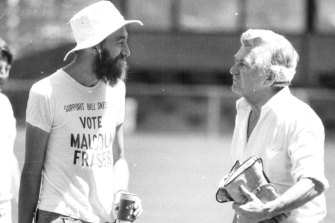 Mungo MacCallum, captain of the 1983 press gallery cricket team argues with Bob Hawke over the cricket dress code.