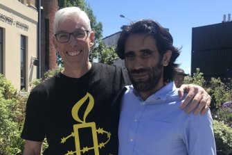 Dr Graham Thom, of Amnesty International Australia, with refugee Behrouz Boochani on his first full day of freedom in Christchurch.