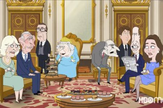 The British royal family, as portrayed in HBO's cartoon, The Prince.