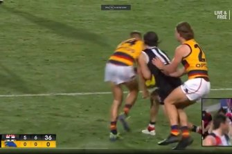 Hunter Clark was left with a broken jaw after this collision with David Mackay .