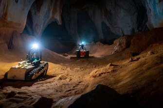 The robots doing training exercises in caves in North Queensland in 2020 in preparation for the competition.