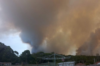 An out of control fire burnt through bushland in Booderee National Park on Tuesday.