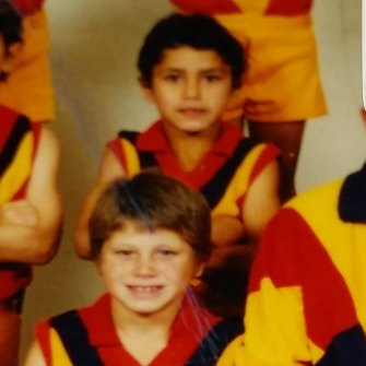Marlion Pickett aged six playing for the under-9s in Balga.