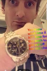 A Snapchat image of Harry Watson.