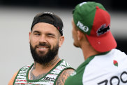 Cook something up: Adam Reynolds and Damien Cook share a laugh at Souths training.