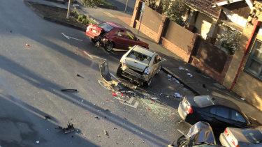 Damage to cars following the brawl.
