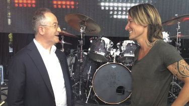 Keith Urban (right) opens up to Andrew Denton.