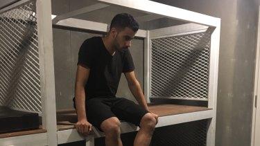 Hakeem al-Araibi in a Thai detention centre on Sunday.