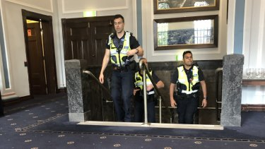 Police arrive at a City of Stonnington council meeting after heated scenes during a protest against the closure of the Victorian Tennis Academy and the Cubbyhouse Canteen.