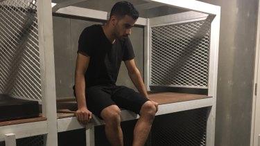 Hakeem al-Araibi in a Thai detention centre.