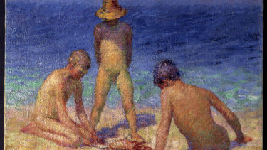 """John Russell's """"The Painter's Sons Playing with a Crab"""", 1904-1906, oil on canvas, 65.5cm x 65cm, Musee D'orsay, Paris, held by the Musee de Morlaix, bequest of Mme Jouve, 1948."""