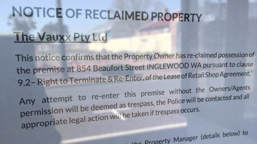 The notice on Billie & Rose at its Beaufort Street warehouse in Inglewood.