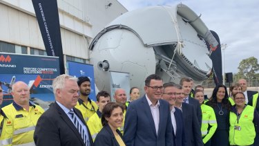 Victorian politicians gathered at the launch of the factory, whose first turbines could be producing power as soon as early 2020.