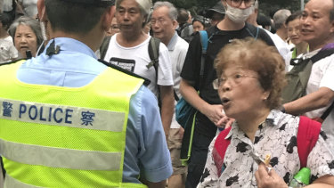Residents over 60 expressed their unhappiness with Carrie Lam's government outside the Hong Kong Legislative Council on Wednesday evening.