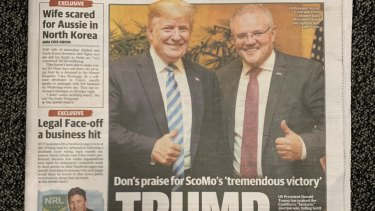 Thumbs up ... Donald Trump and Scott Morrison on The Daily Telegraph's front page on Friday. A bit like a Lowes commercial, only they're at the G20.