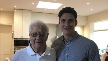 Sam Weideman with his grandfather Murray.
