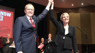 "Labor leader Bill Shorten and deputy Tanya Plibersek at Revesby Workers Club launching the ""Fair Go Action Plan""."