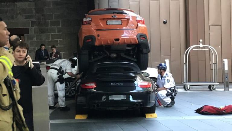 Subaru Dealers Sydney >> Hyatt car crash: Driver rescued after bizarre accident in Sydney's CBD