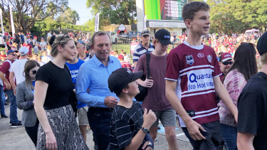 Tony Abbott arrives at Brookvale Oval with his daughter Bridget on Saturday for the NRL game between  Manly and South Sydney.