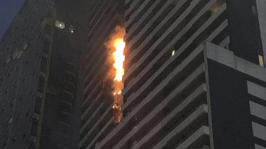 The Neo200 blaze on Spencer Street on February 4.