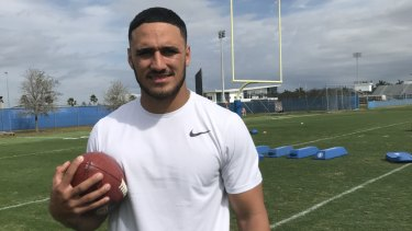 Former Cronulla champion Valentine Holmes fronts the NFL scouts this week.