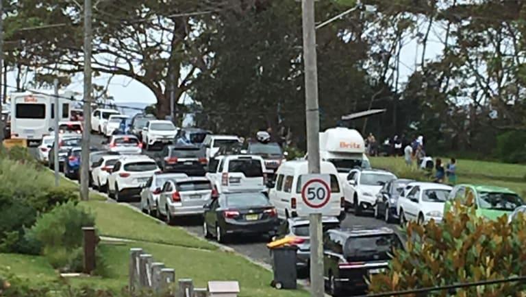 Traffic bedlam in Hyams Beach in December 2017.
