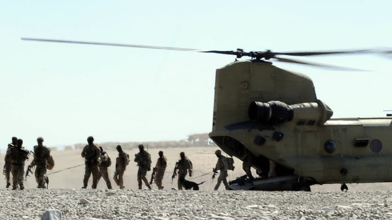 Australian special forces troops arrive back at base after a mission in Oruzgan province in Afghanistan.