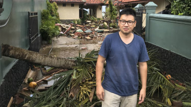 Kevin Resali, 36, outside the villa in Anyer where he and his family were staying when the tsunami hit.