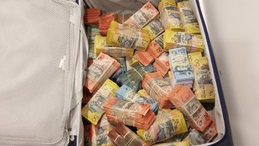 The suitcase of cash seized by police.