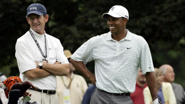 Hank Haney and Tiger Woods in 2006. Woods and Haney stopped working together in 2010.