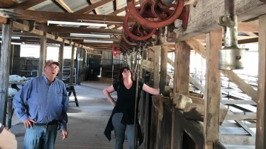 Bob Willow takes a tour party through the heritage-listed wool scour in September. The council would like to have more audio-visual aids through this area.