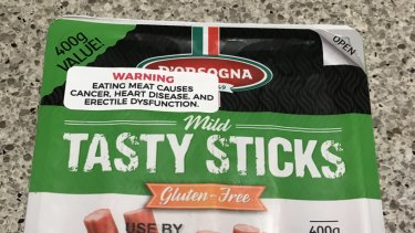 A meat package with a vegan activist sticker, found at Woolworths Top Ryde.