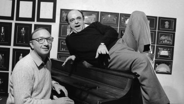 Playwright Neil Simon and actor James Coco ahead of the Broadway debut of Little Me.