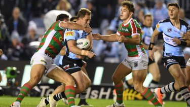 Matt Moylan is still feeling the effects of this hit from South Sydney's Sam Burgess.