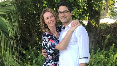 Rachael Scharrer and her partner Bachir.