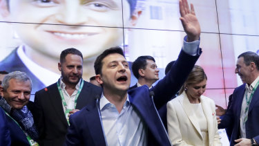 Comedian and president-elect Volodymyr Zelenskiy in Kiev on Sunday.