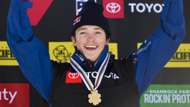 Golden boy: Victorian Scotty James celebrates after winning the men's snowboard halfpipe final at the freestyle ski and snowboard world championships in Utah.