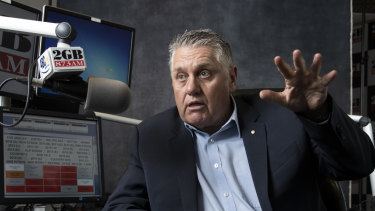 "Unimpressed: Sydney shock jock Ray Hadley attacked John Howard's ""gushing reference""."