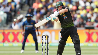 Fighting fit: Aaron Finch proved any issues concerning a side strain had been overcome with his form against the Sri Lankan attack.
