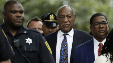 Bill Cosby following the first day of a sentencing hearing at the Montgomery County Courthouse on Monday.
