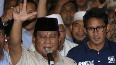Indonesian presidential candidate Prabowo Subianto and his running mate Sandiaga Uno.