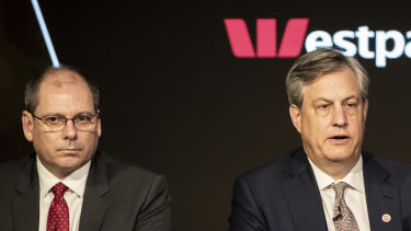 Ousted Westpac chief executive Brian Hartzer (right) resigned this week following the AUSTRAC revelations. He was replaced by Peter King (left).