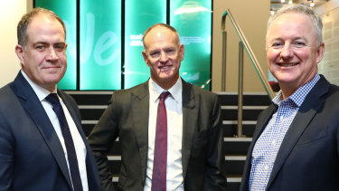 ABC managing director David Anderson, News Corp Australasia executive chairman Michael Miller and Nine chief executive officer Hugh Marks.