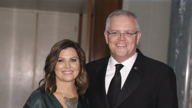 Jenny Morrison and Prime Minister Scott Morrison arrive for the Midwinter Ball.