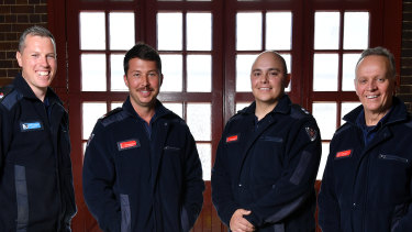 Senior firefighters Bennett Gardiner, left, and Mitchell Bennetts, leading firefighter Gonzalo Herrera and station officer Mike Stuart, far right, at Drummoyne Fire Station.