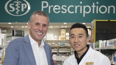 Dr Matthew Cullen, founder of Chemist2U with Dennis Chen Pharmacist at Soul Pattinson Pharmacy Crows Nest, which is one of the Chemist2U's partner pharmacies.