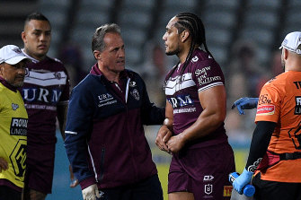 Marty Taupau lasted eight minutes before dislocating his thumb.