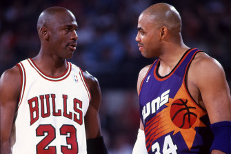 Michael Jordan and Charles Barkley on court in 1993.