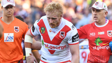 Casualty ward: James Graham ended his day early against the Broncos.