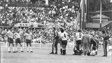 Star Midfielder, Ray Baartz is felled by a karate chop in a friendly against Uruguay just prior to the World Cup in 1974.